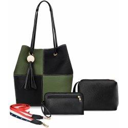 Set 3v1 dvoukomorová kabelka dámská vak ozdobný pásek střapce zeleno černá b811b0287e8