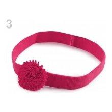 Dětská elastická čelenka s květem růžová malinová