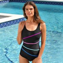 Blancheporte Jednodílné plavky s kontrastními pruhy černá