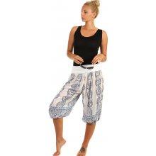 YooY 3/4 dámské harémové kalhoty se vzorem bílá