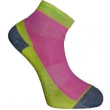 BX-2 FUN bambusové kotníčkové ponožky BAMBOX limetka / růžová