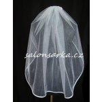 Jednovrstvý svatební závoj s lemem - bílý