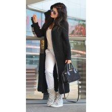 Fashionweek Luxusní neobvyklé pletené dlouhé svetry kabáty MAXI SV06 Khaki 9b0c771ac8