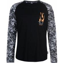 Fabric Long Sleeve Raglan Camouflage Top Black