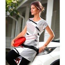 Blancheporte Tunika s grafickým designem bílá/černá/korálová