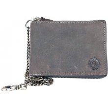 Born to be Wild šedá kožená peněženka dokola na zip s řetězem a karabinkou