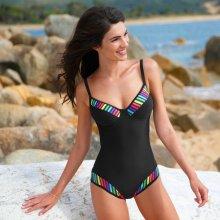 Blancheporte Jednodílné plavky s pruhovanými vsadkami vícebarevná