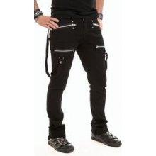 Rockové kalhoty pánské dlouhé s popruhy a zipy