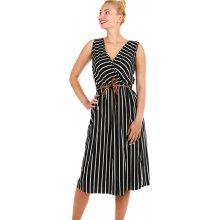 YooY pruhované dámské šaty zavinovací efekt černá eb2c8cb8e6