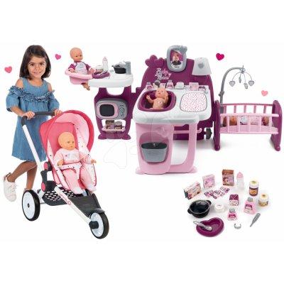 Smoby Set športový Trio Pastel Maxi Cosi & Quinny Jogger polohovateľný so strieškou a domček pre bábiku Violette Baby Nurse Large Doll's Play Center SM255098-5