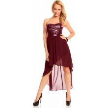 Dámské společenské a plesové šaty korzetové flitrové značkové MAYAADI 297 s asymetrickou sukní bordó
