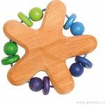 Grimm's Dřevěné chrastítko s perličkami a kroužky modro-zelené