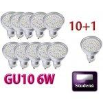 Ledlux LED žárovka GU10 6 W 500 L 230 V Studená bílá 10+1