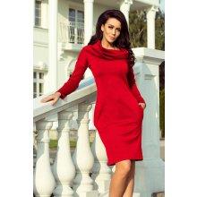 2382289caf92 Teplé dámské šaty s kapsami a rolákem 131-9 červená