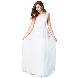 21accf64c9d6 LM moda šifonové šaty dlouhé s krajkou 84-1 bílá