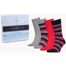 Tommy Hilfiger dárkový 4 pack ponožek Stripes Red/Grey