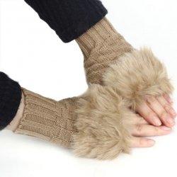 Pletené rukavice bez prstů s kožíškem hnědé F555 od 149 Kč - Heureka.cz 36bca0be65
