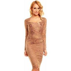 3966b81c2210 Mayaadi společenské šaty krajkové s dlouhým rukávem středně dlouhé bronz