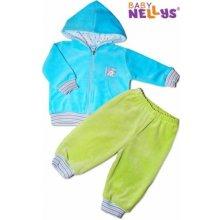 Baby Nellys Tepláková soupravička s kapucí tyrkysová zelená Tyrkysová mikinka zelené kalh