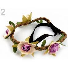 Pružná čelenka s květy 6ks 55 Kč / ks 2 fialová gerbera