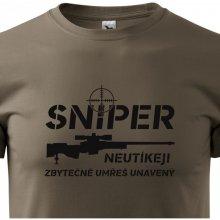 Bezvatriko.cz 0313 Pánské tričko Sniper Neutíkej, zbytečně umřeš unavený Army 29