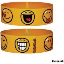 Náramek silikonový Smiley Face žlutý šířka WR67055 CurePink