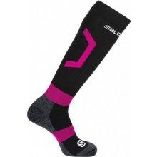 Salomon Rental black/yarrow pink 392450 dámské lyžařské podkolenky Merino vlna