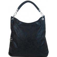 f676cf7898 moderní velká metalická kabelka přes rameno 665-MH černá