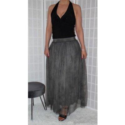 Tylová sukně šedá Vionnetta