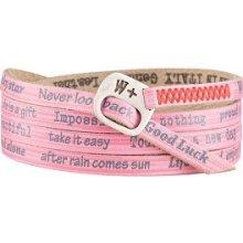 We Positive Růžový wrap náramek s nápisy Vintage Trendy 167 Strawberry