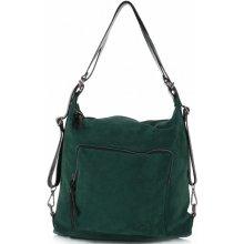 Vittoria Gotti kabelka batůžek přírodní kůže Tmavě zelená