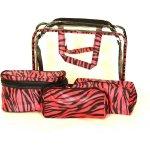 Bright kosmetická taška set 4 etuí průhledná A5 růžová zebra 30x10x22