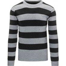 DSTREET Pánský pruhovaný šedý svetr (wx0874)