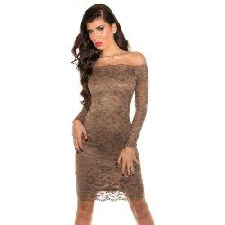 c130e2adaf2c Koucla večerní dámské šaty s krajkou IN SAT 1035 CA hnědá ...