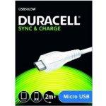 Duracell USB5023W micro USB kabel, 2m, bílý