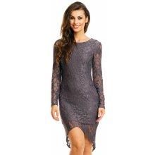 b3807ce7112 Mayaadi společenské šaty krajkové s asymetrickou sukní tmavě šedá