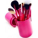 4HAUS Profesionální sada 12 kosmetických štětců Make-Up s koženým pouzdrem - červená