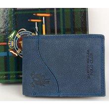 Malá modrá kožená kapesní hnědá peněženka