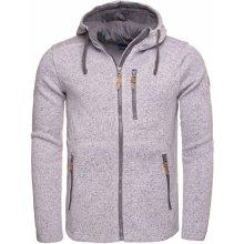 Pánský svetr s kapucí LOAP GODET OLM1724 SVĚTLE ŠEDÁ