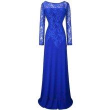 Modré dlouhé šaty s rukávem a krajkou pro svatební matky