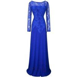 acb0cd90a0e Modré dlouhé šaty s rukávem a krajkou pro svatební matky alternativy ...