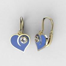 d3cdc5d11 BeKid dětské zlaté náušnice 1283 srdce v oblacích modré aqua žluté zlato