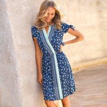 Blancheporte Šaty s překřížením a kašmírovým vzorem indigo/bílá