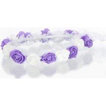 Čelenka do vlasů - květinový věneček svatební s krajkou CV0076-22