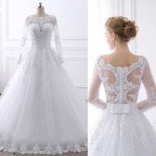 aad05d9b50dd Luxusní krajkové svatební šaty s perly na krajce a dlouhým rukávem 2944-044  Top5