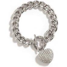 GUESS náramek Silver-Tone Rhinestone Heart stříbrný P264254384A