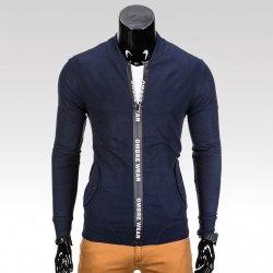Pánská mikina na zip bez kapuce Drew tmavě modrá alternativy ... 7e031faeb9