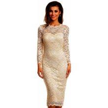381677408049 Mayaadi společenské šaty krajkové s dlouhým rukávem středně dlouhé krémová