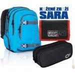 Topgal Studentský batoh HIT 812 D blue + penál Topgal + peněženka Border černá