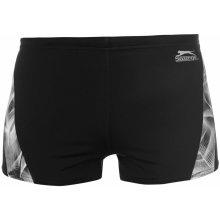 Slazenger Curve Panel Boxer Swimming Trunks Mens Black/White